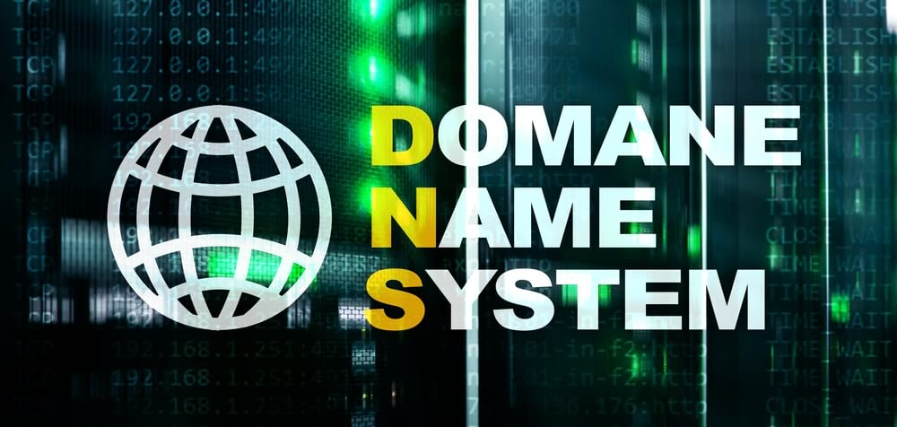 Domain Name System (DNS) written with numbers in the back