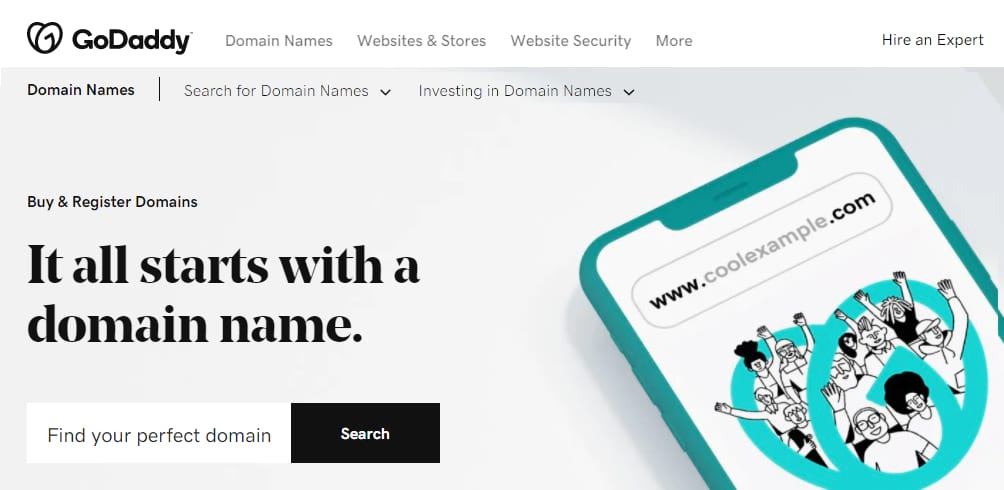 GoDaddy Homescreen: The largest domain registrant in the world