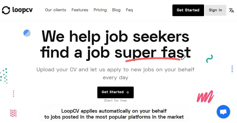 Screenshot of LoopCV homepage